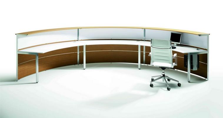 Mostradores de recepcion de madera curvos for Muebles de oficina 28007