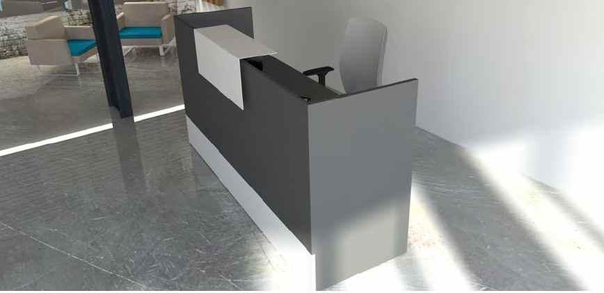 Mostradores de recepcion de madera funcionales for Muebles de oficina 28007